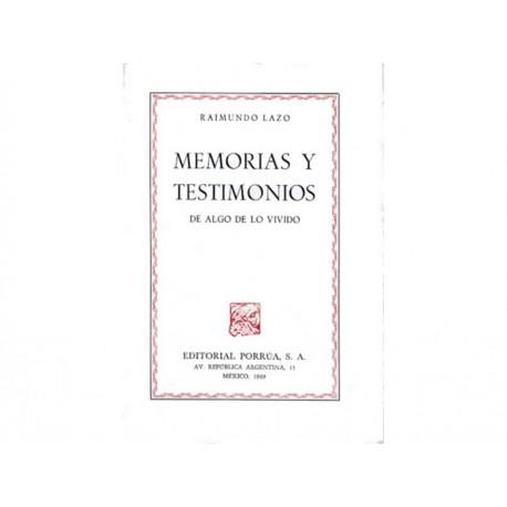 Memorias y Testimonios de Algo de Lo Vivido - Envío Gratuito
