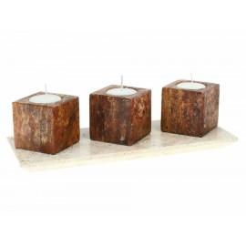 Ónix Set Charola Rectangular con Porta velas Cubo - Envío Gratuito