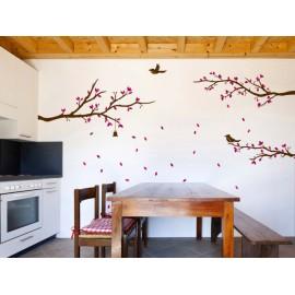 Ventisca Floral Rosa Vinilo Decorativo - Envío Gratuito