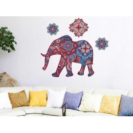 Elefante Hindú Azul Vinilo Decorativo - Envío Gratuito