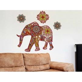 Elefante Hindú Amarillo Vinilo Decorativo - Envío Gratuito