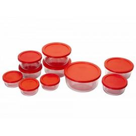 Pyrex Set Storage de 20 Piezas Rojo - Envío Gratuito