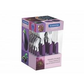 Tramontina Juego de Cubiertos Carmel 24 Piezas Purpura - Envío Gratuito