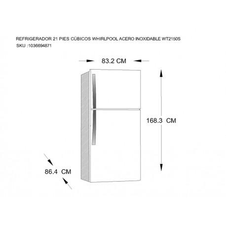 Whirlpool WT2150S Refrigerador 21 Pies Cúbicos Acero Inoxidable - Envío Gratuito