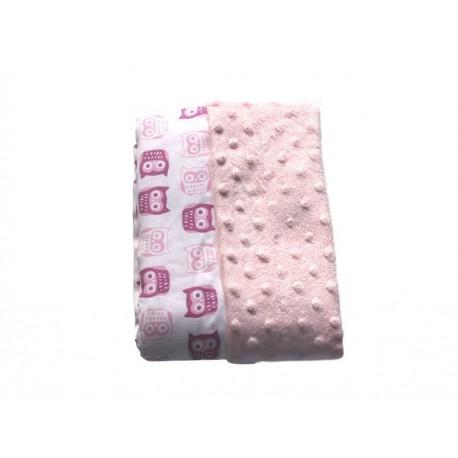 Cobija Nap buhos algodón rosa - Envío Gratuito