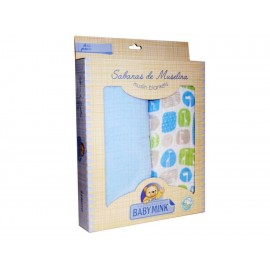 Baby Mink Sabanas Muselina Azul Azul - Envío Gratuito