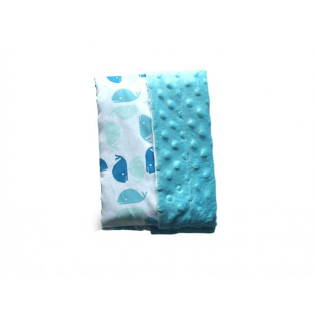 Cobija Nap ballenas algodón azul - Envío Gratuito