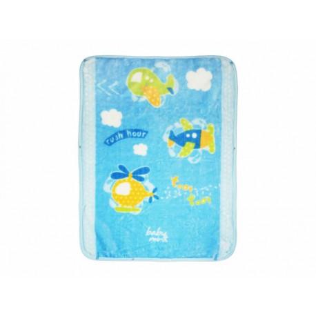 Baby Mink Cobertor Baby Bag Aviones Azul - Envío Gratuito