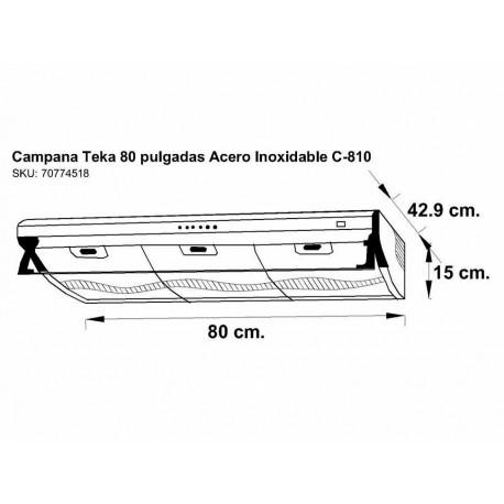 Campana de pared 80 cm Teka acero C-810 - Envío Gratuito