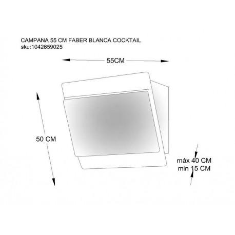 Campana de pared Faber 55 cm blanca 110.0324.531 - Envío Gratuito