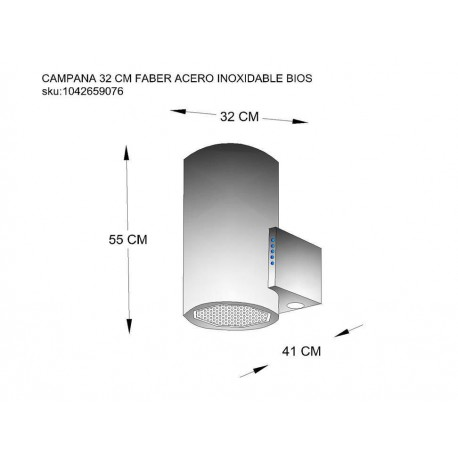 Campana Faber 32 cm acero 110.0323.965 - Envío Gratuito