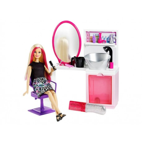 Set de Muñeca Barbie Salón Brillo Glam - Envío Gratuito