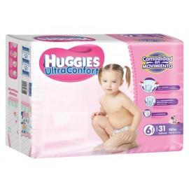 Pañales Huggies Ultra Confort Etapa 6 para niña 31 piezas - Envío Gratuito