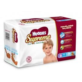 Pañales Huggies Supreme Pure & Natural Etapa 6 para niño 36 piezas - Envío Gratuito
